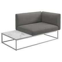 Maya Left / Right Bianco Ceramic End Table Unit 161 x 86 White - Fife Rainy Grey