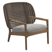 Kay Low Back Lounge Chair Brindle Weave- Blend linen