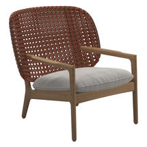 Kay Low Back Lounge Chair Copper Weave- Blend linen