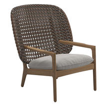 Kay High Back Lounge Chair Brindle Weave- Blend linen