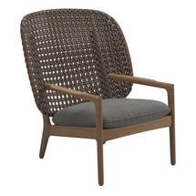 Kay High Back Lounge Chair Brindle Weave- Fife Rainy Grey