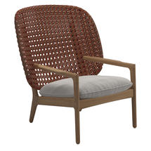 Kay High Back Lounge Chair Copper Weave- Blend linen