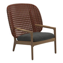 Kay High Back Lounge Chair Copper Weave- Blend Coal