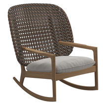 Kay High Back Rocking Chair Brindle Weave- Blend linen