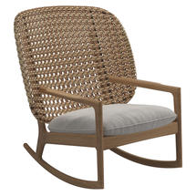 Kay High Back Rocking Chair Harvest Weave- Blend linen