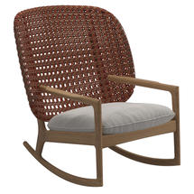Kay High Back Rocking Chair Copper Weave- Blend linen