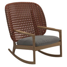 Kay High Back Rocking Chair Copper Weave- Fife Rainy Grey
