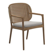 Kay Dining Chair with Arms Harvest Weave- Blend linen