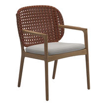 Kay Dining Chair with Arms Copper Weave- Blend linen