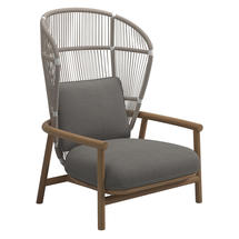 Fern High Back Lounge Chair White / Dune - Fife Rainy Grey