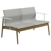 Sway Teak 2-Seater Sofa - White / Seagull Sling