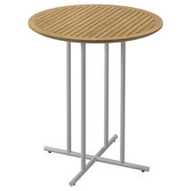 Whirl 90cm Round Bar Table Teak  - White