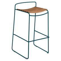 Surprising Teak Bar Stool - Acapulco Blue