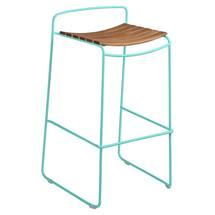 Surprising Teak Bar Stool - Lagoon Blue