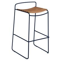 Surprising Teak Bar Stool - Deep Blue