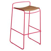 Surprising Teak Bar Stool - Pink Praline