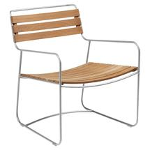 Surprising Teak Low Armchair - Steel Grey