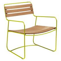 Surprising Teak Low Armchair - Verbena Green