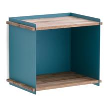 Outdoor Wall Storage Box - Teak / Aqua