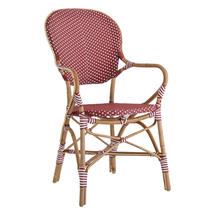 Isabell Cafe Armchair - Bourgogne Red / White Dot