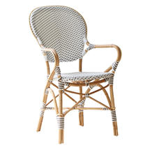 Isabell Cafe Armchair - White / Cappuccino Dot