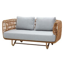 Nest Outdoor Natural 2 Seat Sofa - Light Grey Cushions