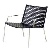 Straw Indoor Lounge Chair Flat Weave- Black