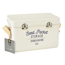Leather Handled Seed Tin - Cream