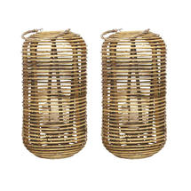 Set of 2 Cylindrical Rattan Lantern - Natural