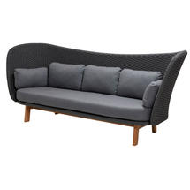 Peacock Wing 3 Seat Sofa - Dark Grey