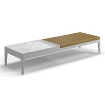Grid Coffee Table - Buffed Teak & Blanco Ceramic Top - White