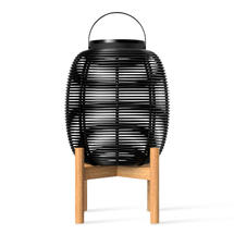 Tika Small Lantern with Teak Base - Black