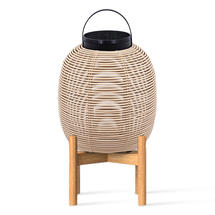 Tika Small Lantern with Teak Base - Camel