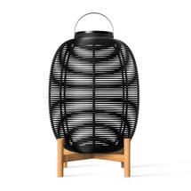 Tika Large Lantern with Teak Base - Black