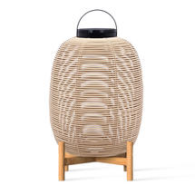 Tika Large Lantern with Teak Base - Camel