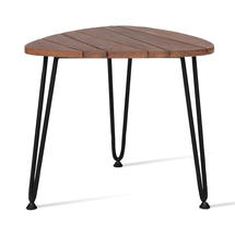 Rozy Side Table - Black with Teak Top