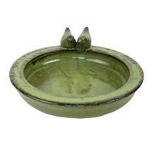 Glazed Bird Bath - Green