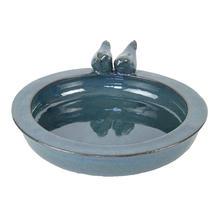 Glazed Bird Bath - Teal