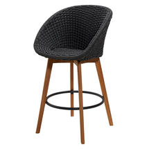 Peacock bar chair w/teak legs - Teak/Dark Grey