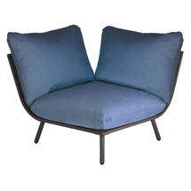 Beach Corner Module Lounge - Flint Frame/Blue Cushion