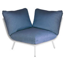 Beach Corner Module Lounge - Shell Frame/Blue Cushion