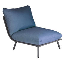 Beach Middle Module Lounge - Flint Frame/Blue Cushion