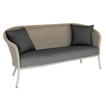 Cordial Beige Curved Top Lounge 3 Seat Sofa with Charcoal Cushions