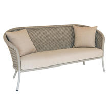 Cordial Beige Curved Top Lounge 3 Seat Sofa with Oatmeal Cushions