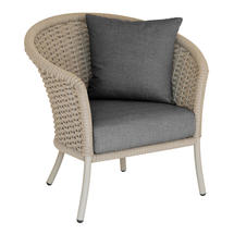 Cordial  Beige Curved Top Lounge Chair with Charcoal Cushions