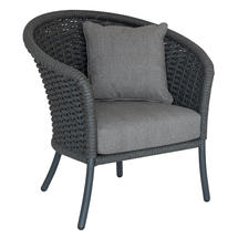 Cordial Grey Curved Top Lounge Chair with Anthracite Cushions