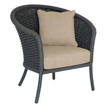 Cordial Grey Curved Top Lounge Chair with Oatmeal Cushions