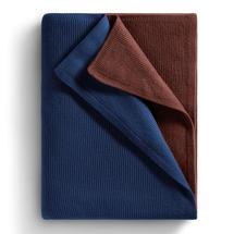 Atmosphere Cashmere Blanket - Deep Navy / Redwood