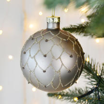 Bronzed Glass Glitter Bauble