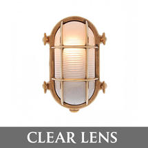 Medium Oval Bulkhead - Brass/Clear Lens